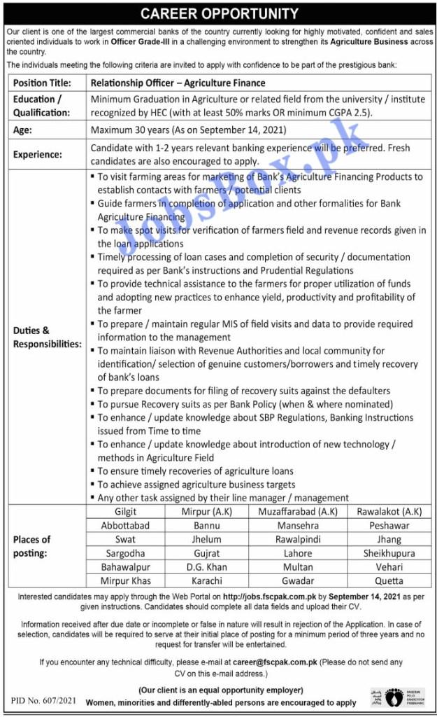 http://jobs.fscpak.com.pk - Commercial Bank Jobs 2021 in Pakistan