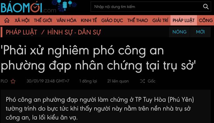 Phải xử nghiêm báo chí lề đảng và Chủ tịch UBND Tuy Hoà vu khống côn an!