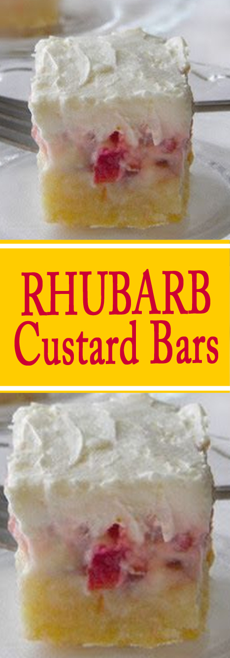 Recipe Rhubarb Custard Bars #bars #cookies