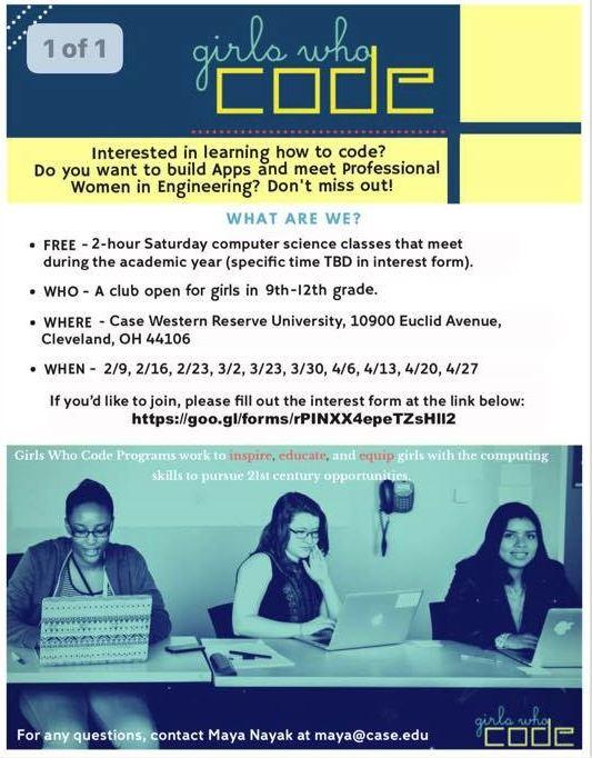 Maya Nayak, President Girls Who Code at Case Western Reserve University