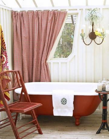diseño de baño rojo y blanco