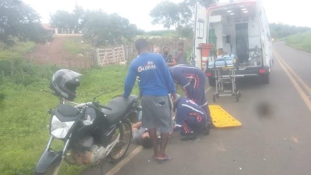 PNEU ESTOUROU: Jovem de Francinópolis se envolve em acidente com moto na PI-224 em Elesbão Veloso.