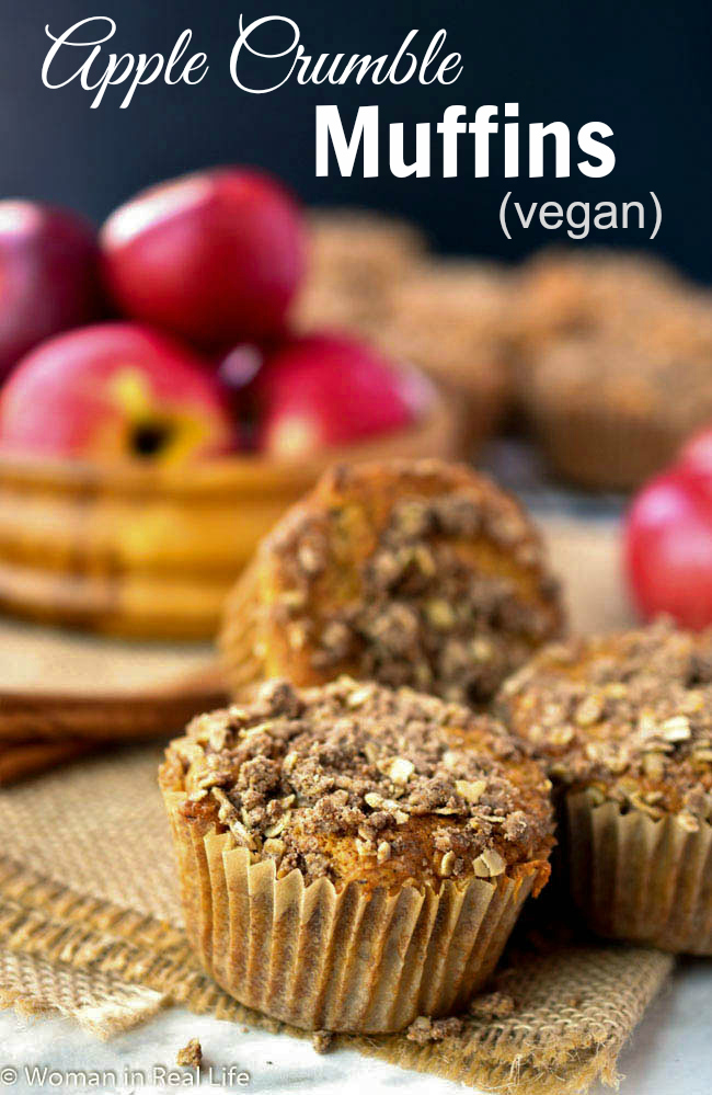 These apple crumble muffins are non-dairy (vegan), moist and delicious. A great way to use up your store of fresh-picked fall apples!