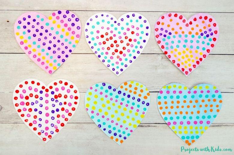q tip painted heart art