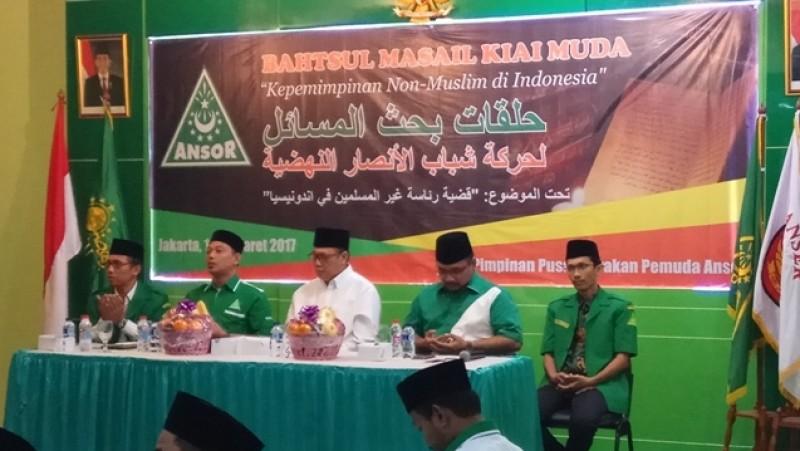 Diskusi Kepemimpinan Non-Muslim dalam Pandangan Islam di kantor GP Ansor