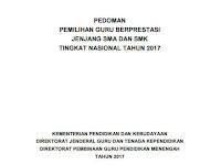 Pedoman/ Juknis Pemilihan Guru Berprestasi Jenjang SMA dan SMK Tingkat Nasional Tahun 2017