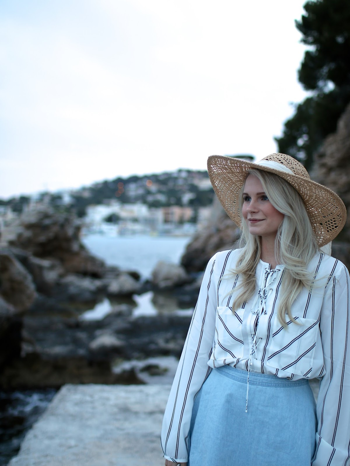 mallorca holiday and floppy hat