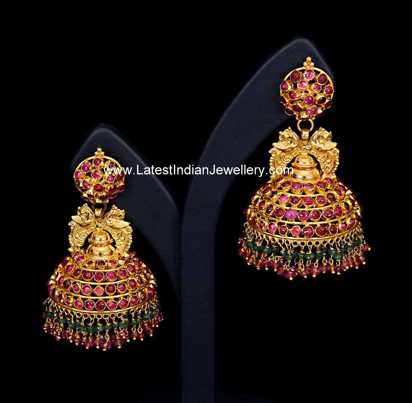 Ruby Gold Jhumka Earrings Latest Indian Jewellery Designs