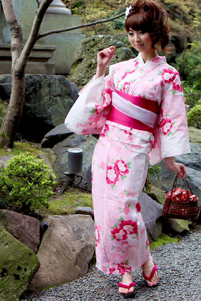 Japanese Yukata includes Obi (sash), Geta (Shoes), and flower on the head