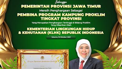 Pemprov Jawa Timur  Raih Penghargaan Proklim 2021 dari KLHK