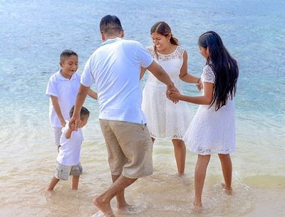happy family playing on the beach full HD