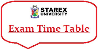 Starex University Exam Date Sheet 2020