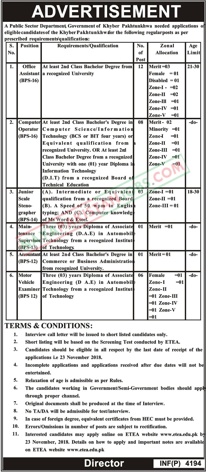 Latest Vacancies Announced in Public Sector Organization Khyber Pakhtunkhwa via ETEA 2 November 2018 - Naya Pakistan