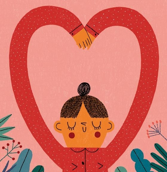 ilustración de chica con los brazos haciendo una forma de corazón por encima de su cabeza