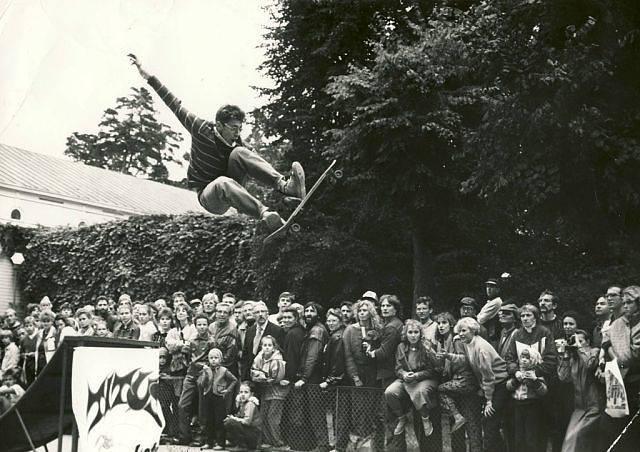 1989 год. Юрмала. Возле концертного зала Дзинтари. Чемпионат Латвии по скейтборду.