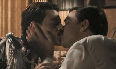 Kissing scene from film Bohemian Rhapsody