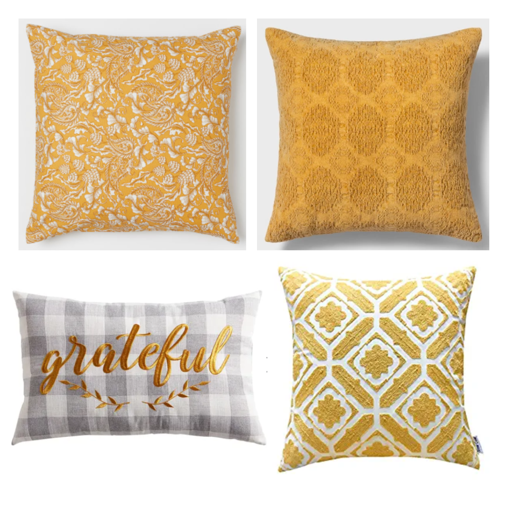 Turmeric Colored Throw Pillows