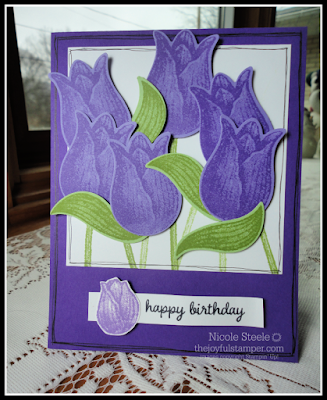 Timeless Tulips birthday card with Tulip Builder punch | made with Splitcoaststampers card sketch 781