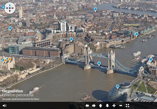 Panorama de Londres en realidad aumentada desde la punta del Shard