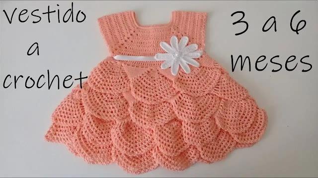 Cómo tejer un vestido de volantes para bebé de 3 a 6 meses