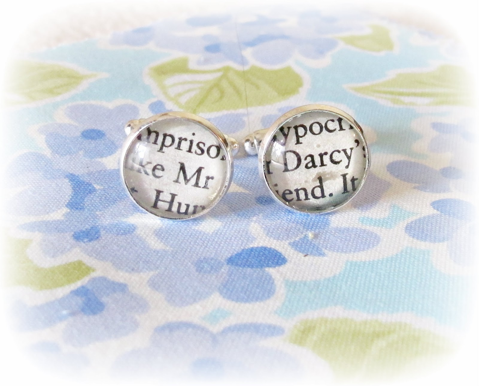 image mr Darcy cufflinks jane austen book text upcycled vintage two cheeky monkeys pride and prejudice