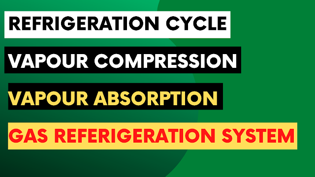 Refrigeration Cycle | Vapour Compression | Vapour absorption | Gas Refrigeration System
