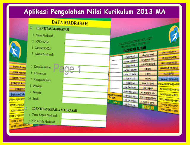 Aplikasi Pengolahan Nilai Kurikulum 2013 MA ( Madrasah Aliyah ) Format Excel Terbaru 2017