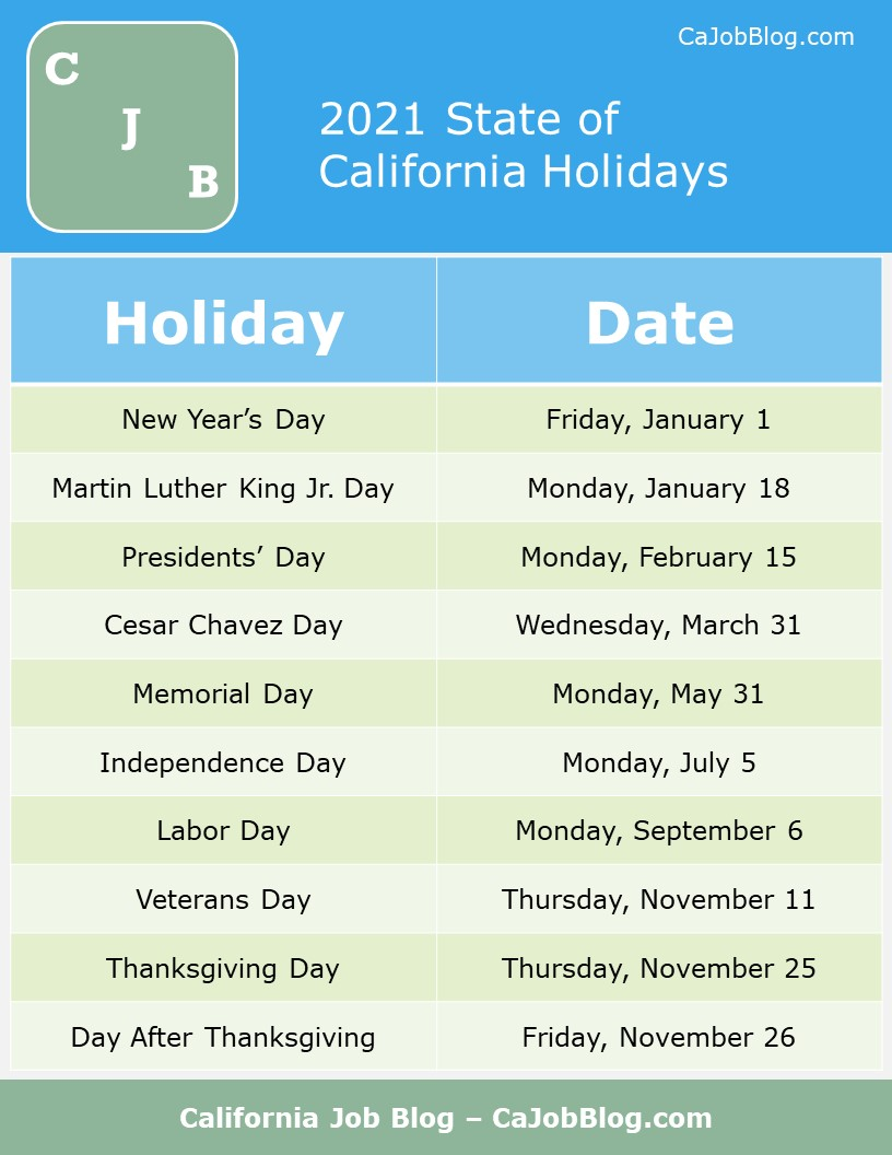 Image of 2021 Paid Holidays in California