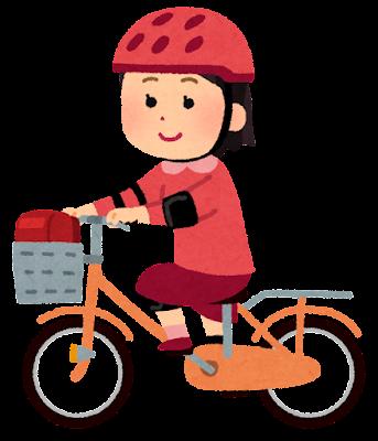 プロテクターをつけて自転車に乗る子供のイラスト(女の子)