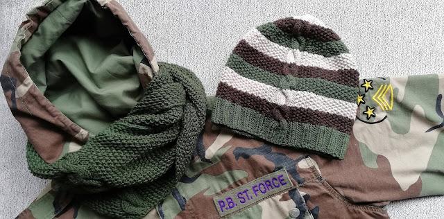 Męski komplet moro – czapka i komin