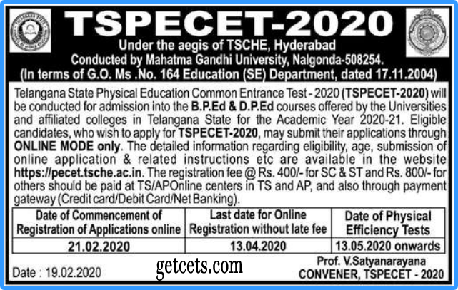 TS PECET Results 2021-2022, Rank card download @pecet.tsche.ac.in