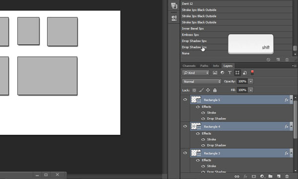 Apply Layer Style to multiple layers in Photoshop