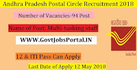 Andhra Pradesh Postal Circle Recruitment 2018-94 Multi-tasking staff