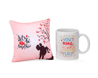 Birthday Gift Collectible Combo Cushion with Filler and Coffee Mug Greeting Card