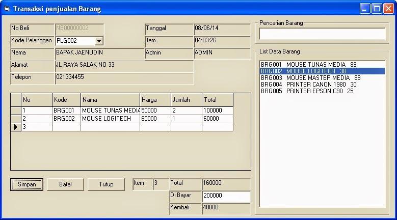 Aplikasi Penjualan VB6 Database MySQL