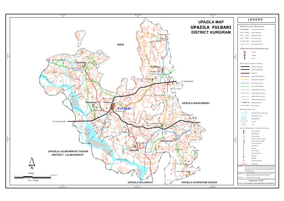 Phulbari Upazila Map Kurigram District Bangladesh