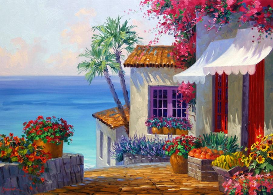 Cuadros modernos pinturas y dibujos vistosos paisajes de - Paisajes de casas ...