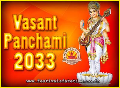 2033 Vasant Panchami Puja Date & Time, 2033 Vasant Panchami Calendar