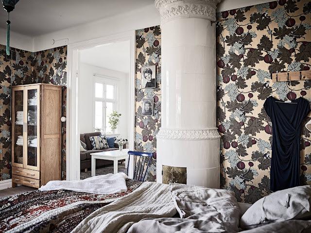 skandynawska sypialnia, tapeta do sypialni