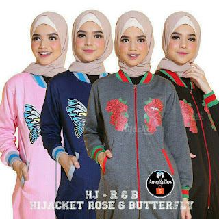 Jaket Muslimah Hijacket Rose Butterfly GREY BLACK NAVY PINK Hijacket Original