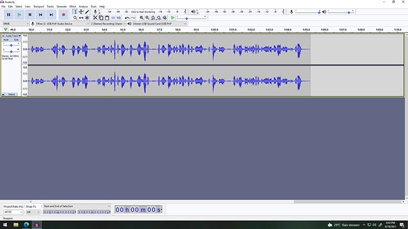 Recording audio thru Audacity