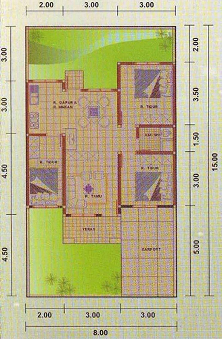 Design Rumah 8x15 Meter 3 Kamar