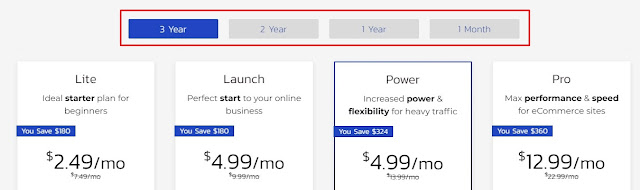 3 years long term buying plan pricing for shared hosting