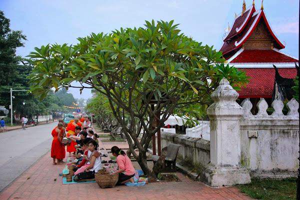 Cerimonia elemosina di fronte al tempio di Wat Mai