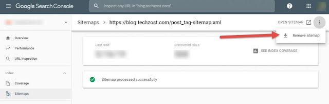 Remove sitemap.xml from Google Search Console - Techzost blog