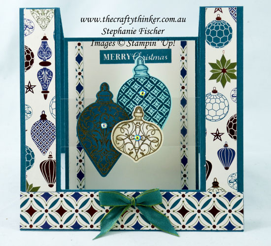 #thecraftythinker #stampinup #cardmaking #christmascard #xmascard #christmasgleaming #centrestepfunfold #funfold , Christmas Gleaming Bundle, Fun Fold, Centre Step card with floating element, Christmas Card, Stampin' Up Demonstrator, Stephanie Fischer, Sydney NSW