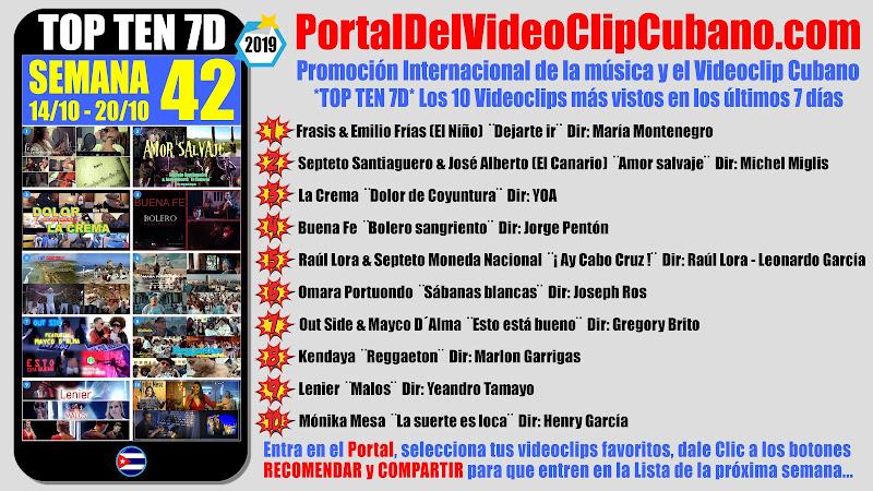 Artistas ganadores del * TOP TEN 7D * con los 10 Videoclips más vistos en la semana 42 (14/10 a 20/10 de 2019) en el Portal Del Vídeo Clip Cubano