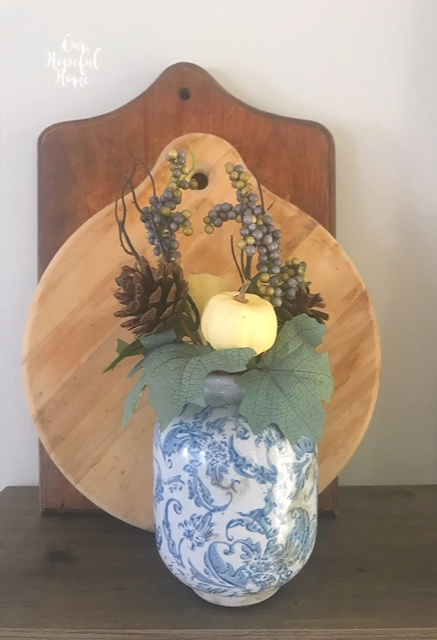 shabby chic blue white vase baby boo pumpkins cuttig boards