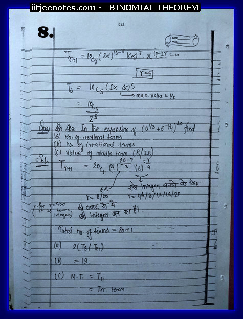 IITJEE Notes on Bimomial Theorem8