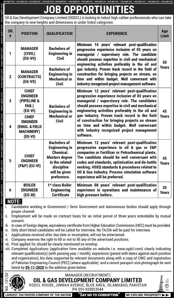 Oil & Gas Development Company Limited OGDCL Management Posts 2020 Sindh Jobs | Multiple Jobs